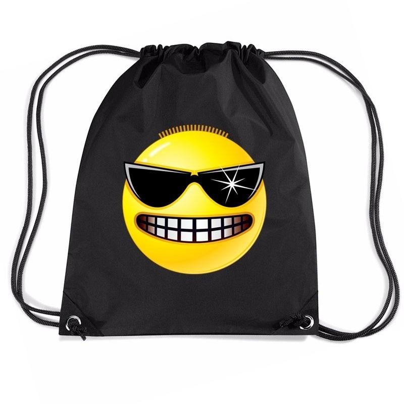 43dc117d8b2 Nylon sporttas emoticon stoer zwart - Spaarpotten winkel