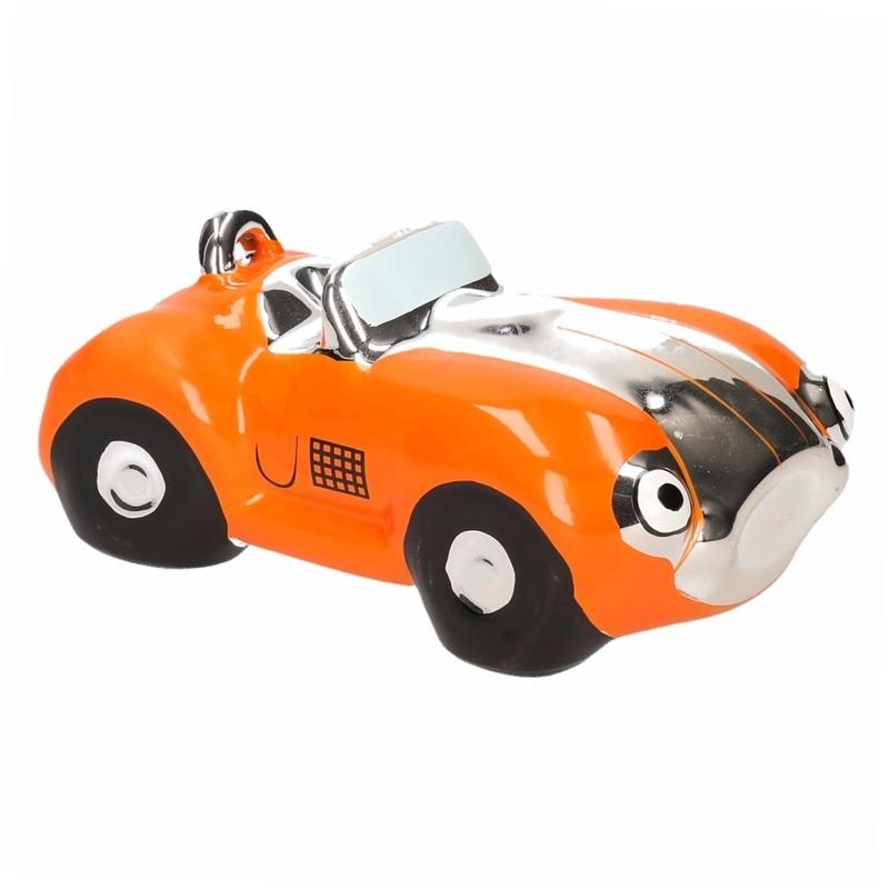 Oranje jongens sportauto cabriolet spaarpot 15 cm