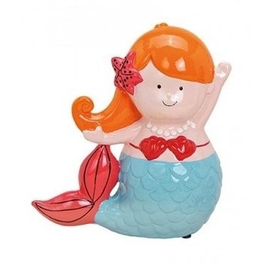 Oranje met blauwe zeemeermin spaarpot 17 cm