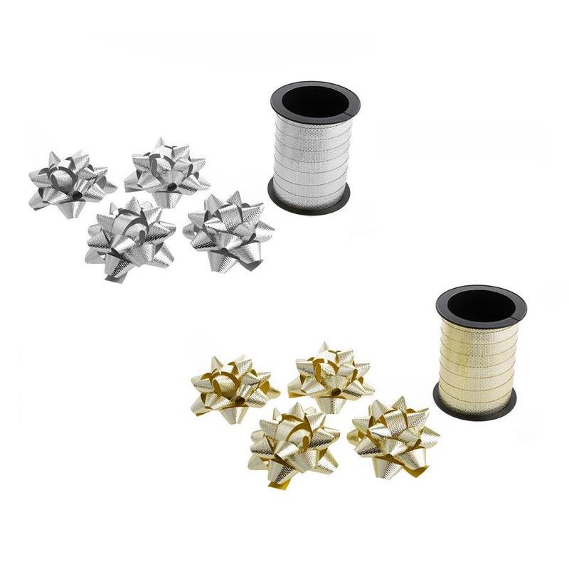 Pakket van 2x rollen cadeaulint sierlint 10 meter en 8 strikjes goud/zilver