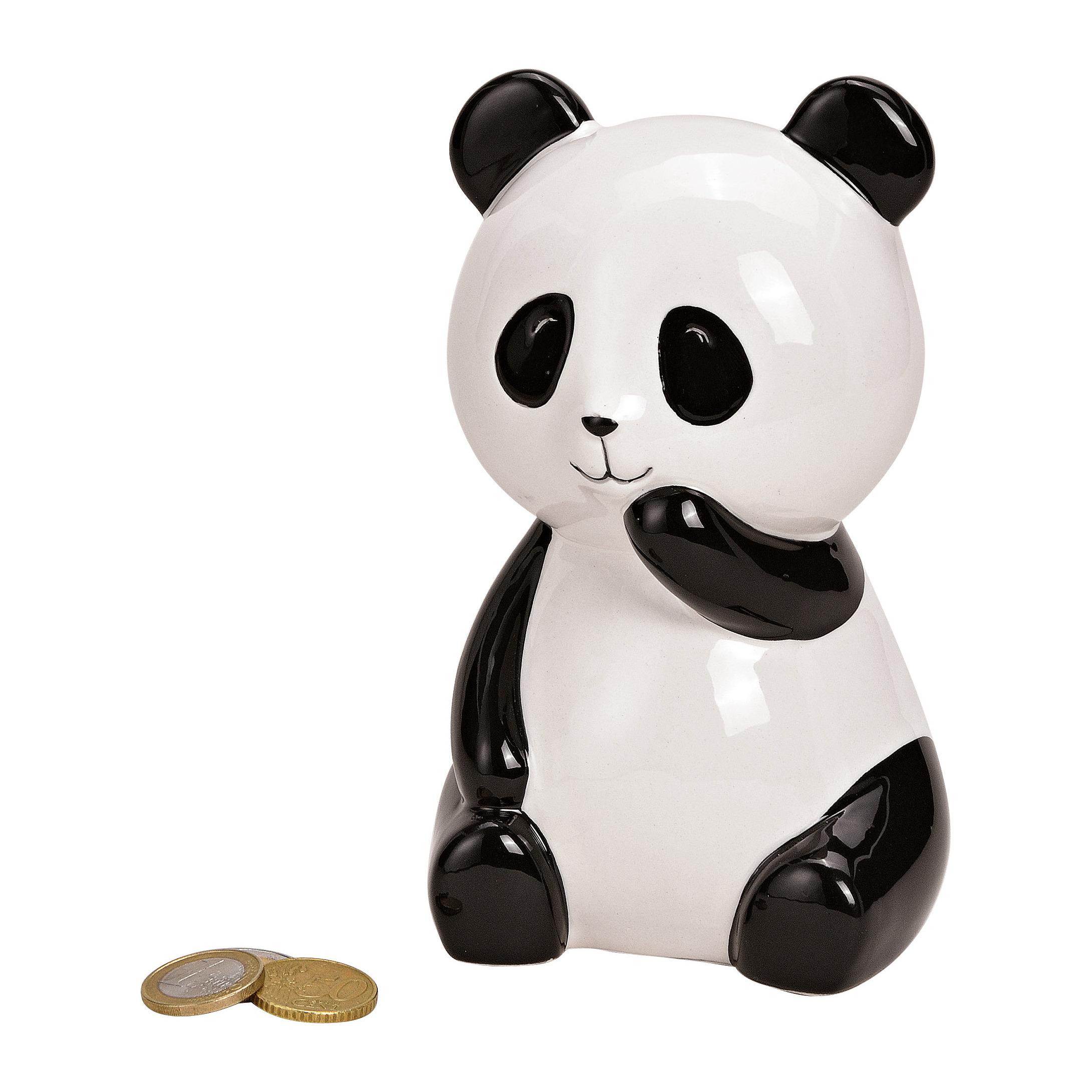 Panda dieren spaarpotten zwart/wit 15 cm