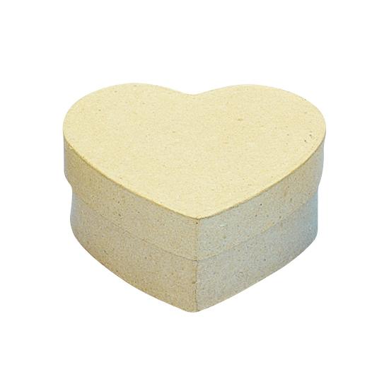 Papier mache doosje in hartvorm 10 x 10 cm