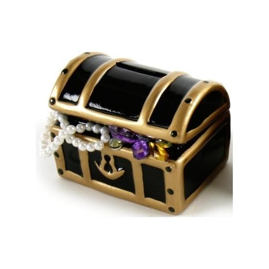 Piraten schatkist spaarpot zwart 12 cm