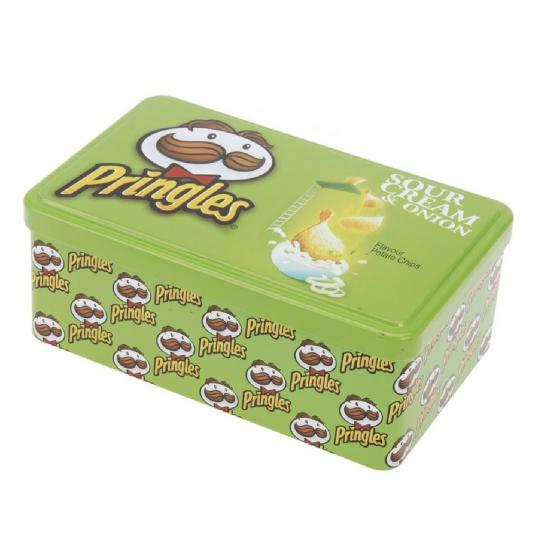 Rechthoek voorraadblik Pringles opdruk groen