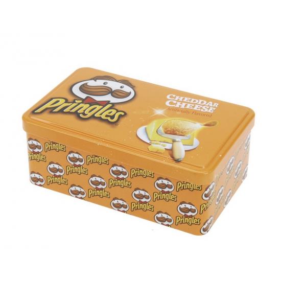 Rechthoek voorraadblik Pringles opdruk oranje