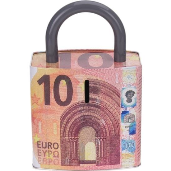Rode spaarpot 10 euro biljet slotvorm 25 cm