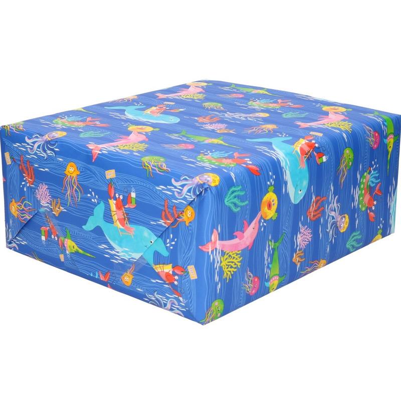 Rol kinderverjaardag inpakpapier met oceaan dieren 200 x 70 cm