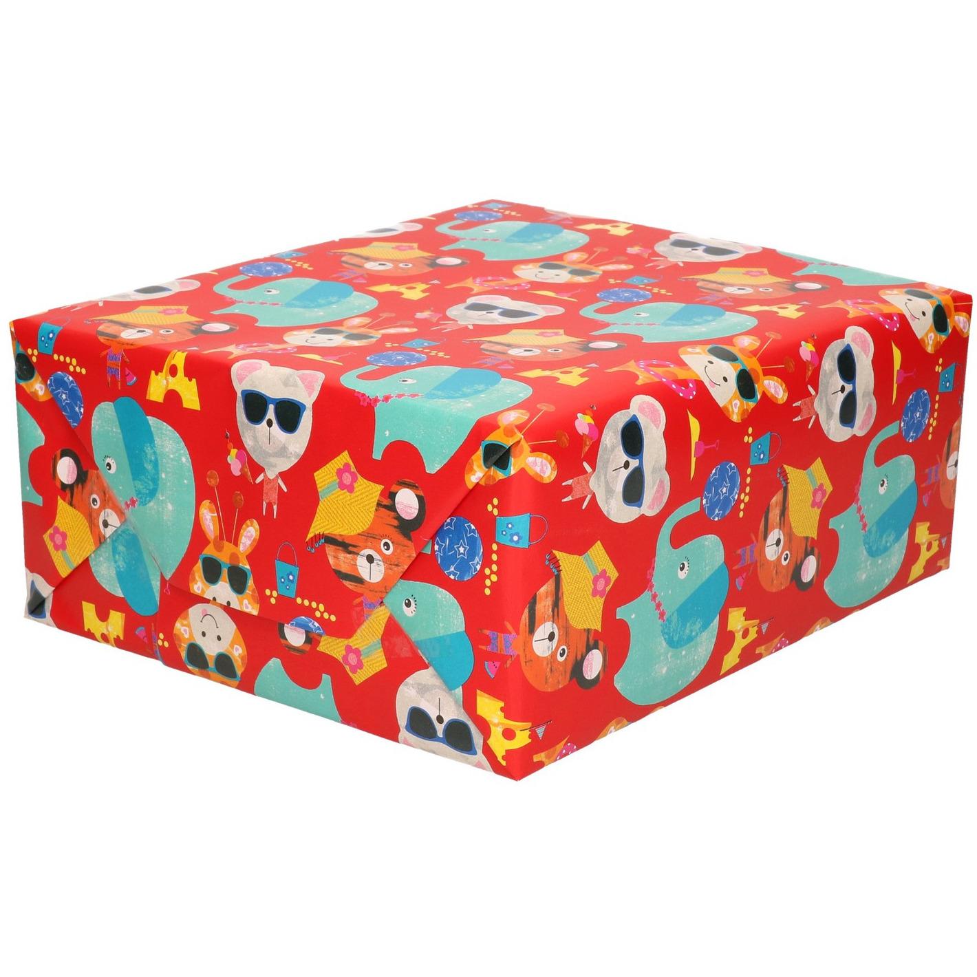 Rol kinderverjaardag inpakpapier met olifanten en poezen 200 x 70 cm