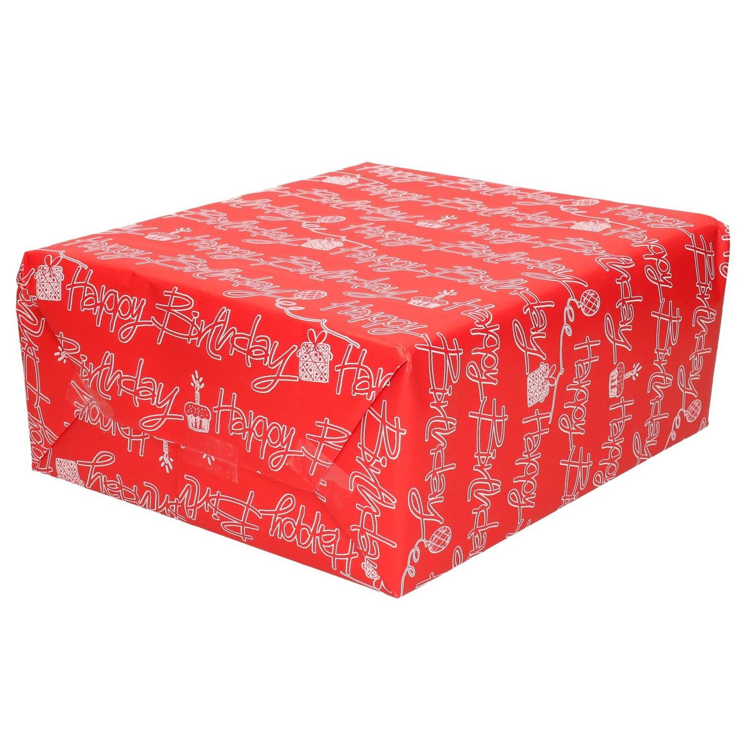 Rollen Rood cadeaupapier met witte happy birthday tekst 70 x 200 cm