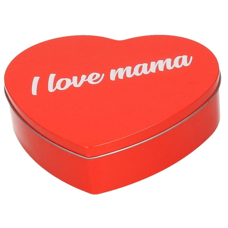 Rood I Love Mama hart bewaarblik/opbergblik 18 cm