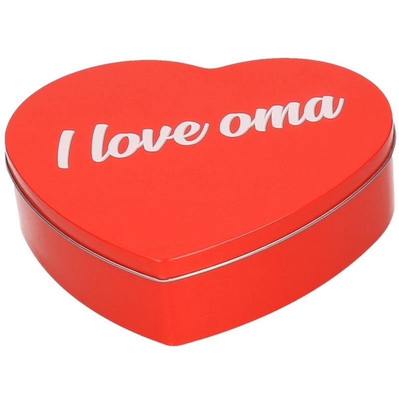 Rood I Love Oma hart bewaarblik/opbergblik 18 cm