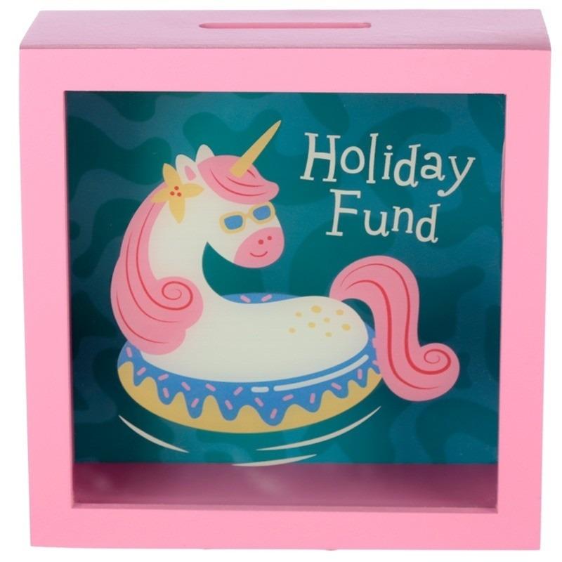 Roze spaarpot met raam vakantie eenhoorn 18x18 cm.
