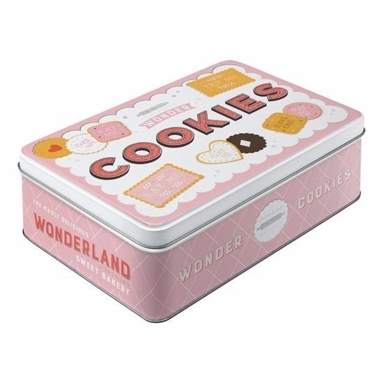 Roze voorraadblik cookies 23 cm