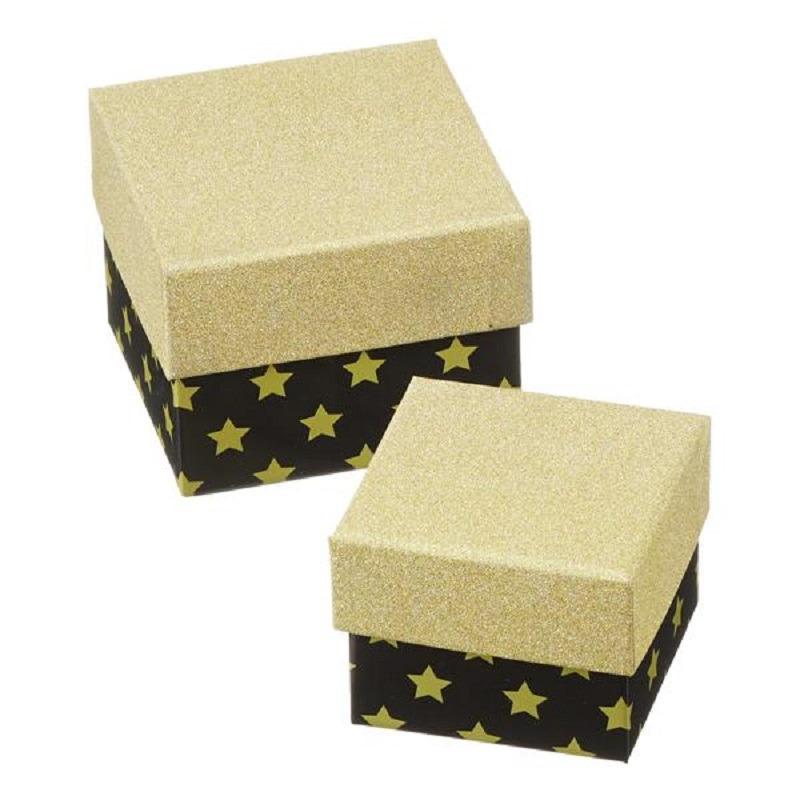 Set van 2x stuks zwarte/gouden met sterren cadeaudoosjes 8,5 en 10,5 cm vierkant