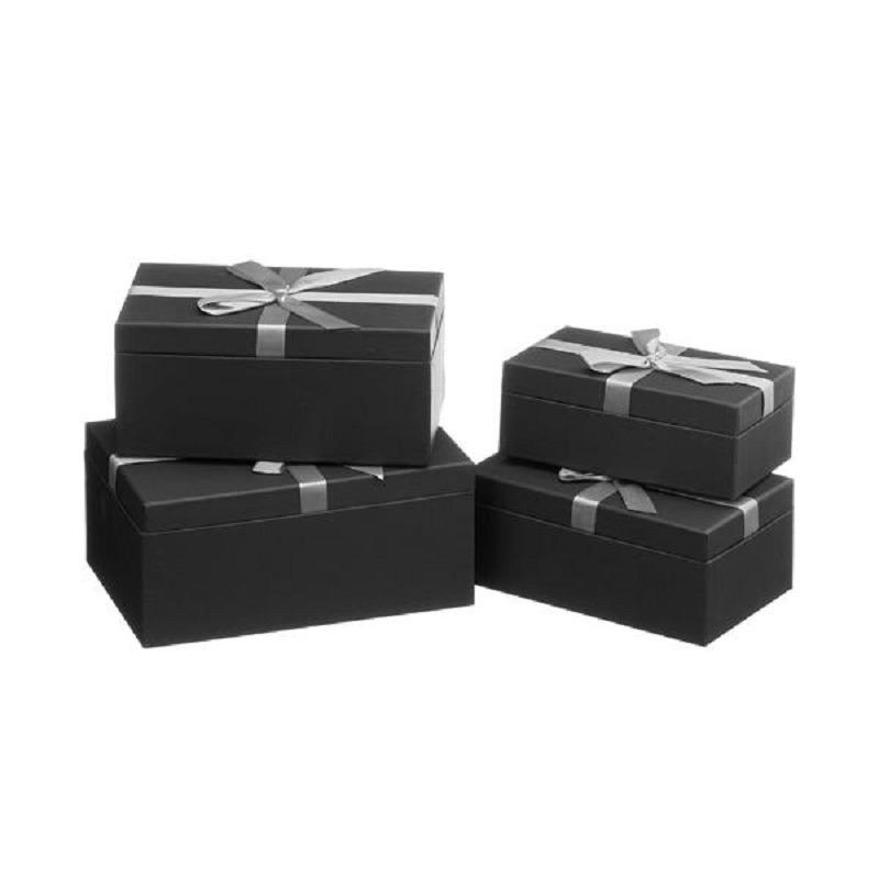 Set van 4x stuks zwarte cadeaudoosjes met zilveren strikje 18,5-24 cm rechthoekig