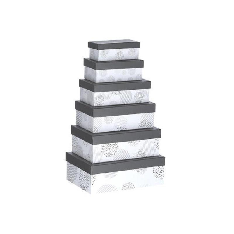 Set van 6x stuks grijze gestipte cadeaudoosjes 16,5-28,5 cm rechthoekig