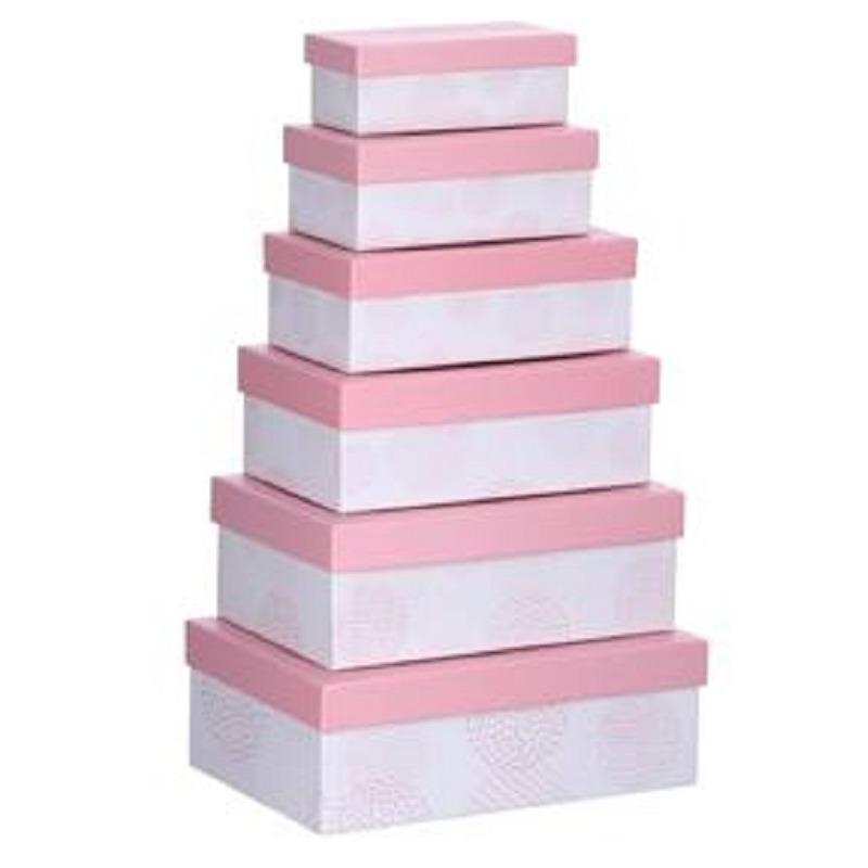 Set van 6x stuks pastel roze cadeaudoosjes 16,5-28,5 cm rechthoekig