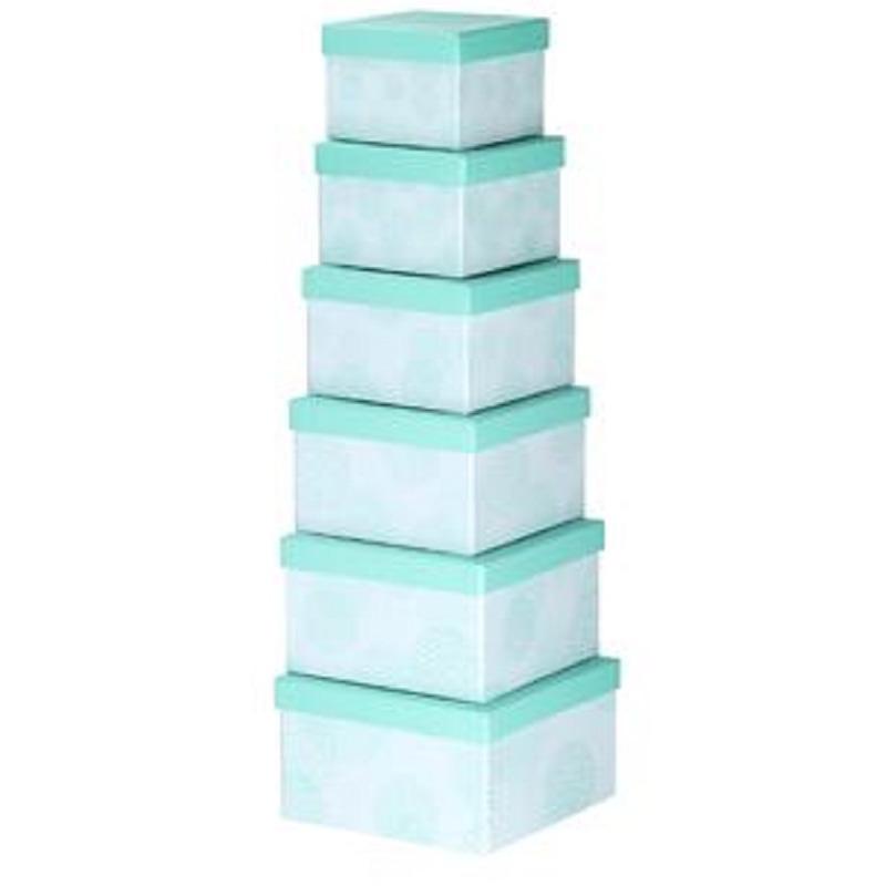 Set van 6x stuks pastel turquoise cadeaudoosjes 13,5-21 cm vierkant