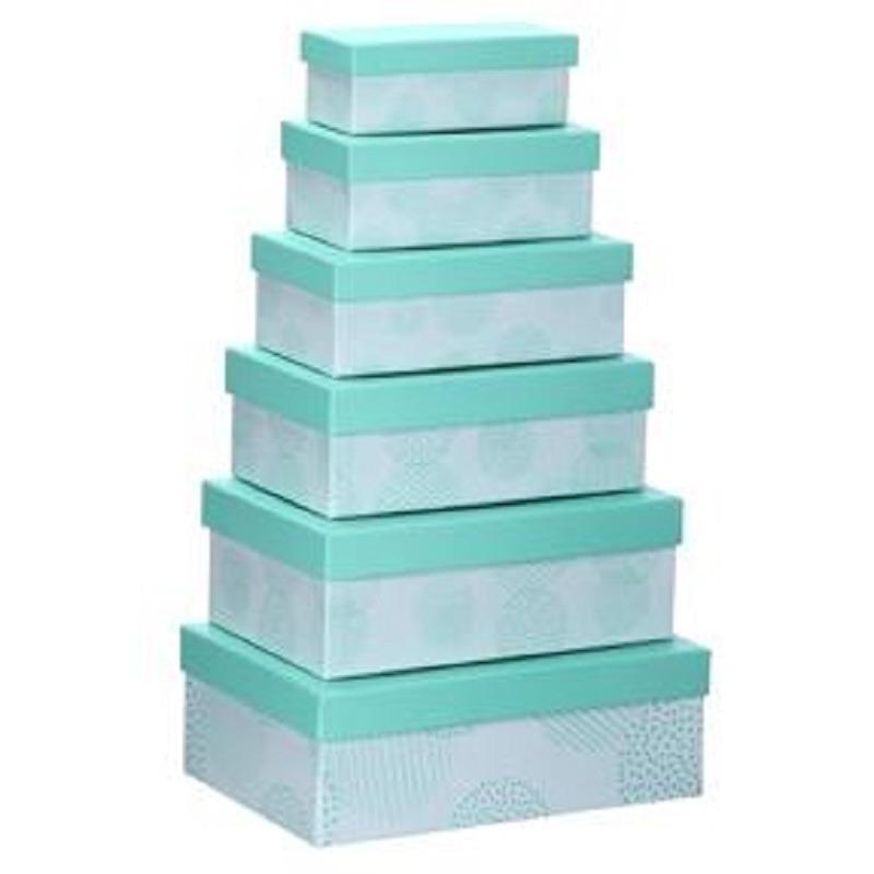 Set van 6x stuks pastel turquoise cadeaudoosjes 16,5-28,5 cm rechthoekig