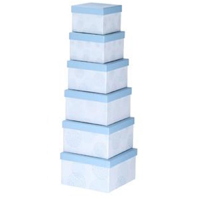 Set van 6x stuks pastelblauwe cadeaudoosjes 13,5-21 cm vierkant