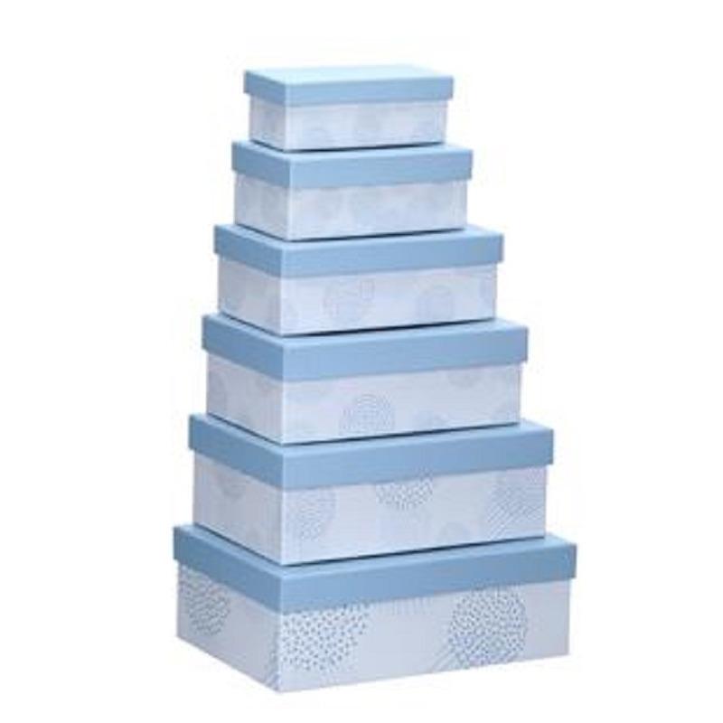 Set van 6x stuks pastelblauwe cadeaudoosjes 16,5-28,5 cm rechthoekig