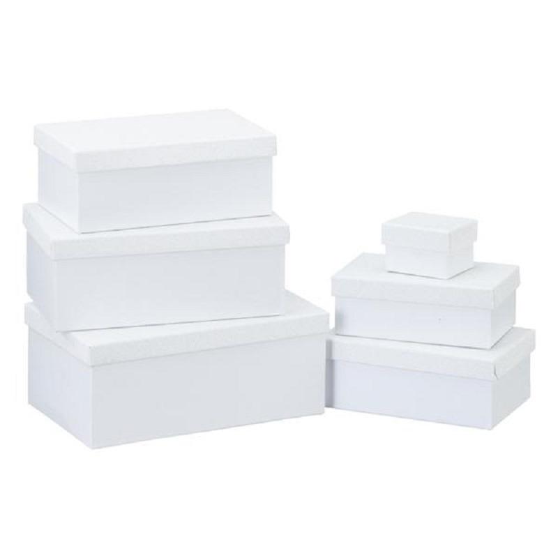 Set van 6x stuks witte glitter cadeaudoosjes 7-24 cm rechthoekig