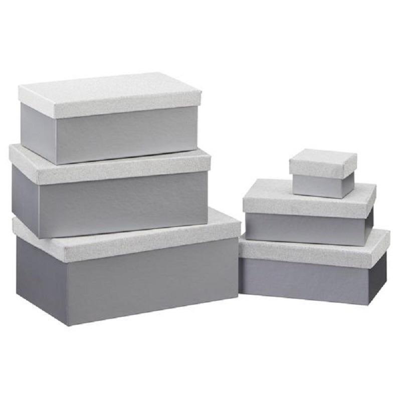 Set van 6x stuks zilveren glitter cadeaudoosjes 7-24 cm rechthoekig
