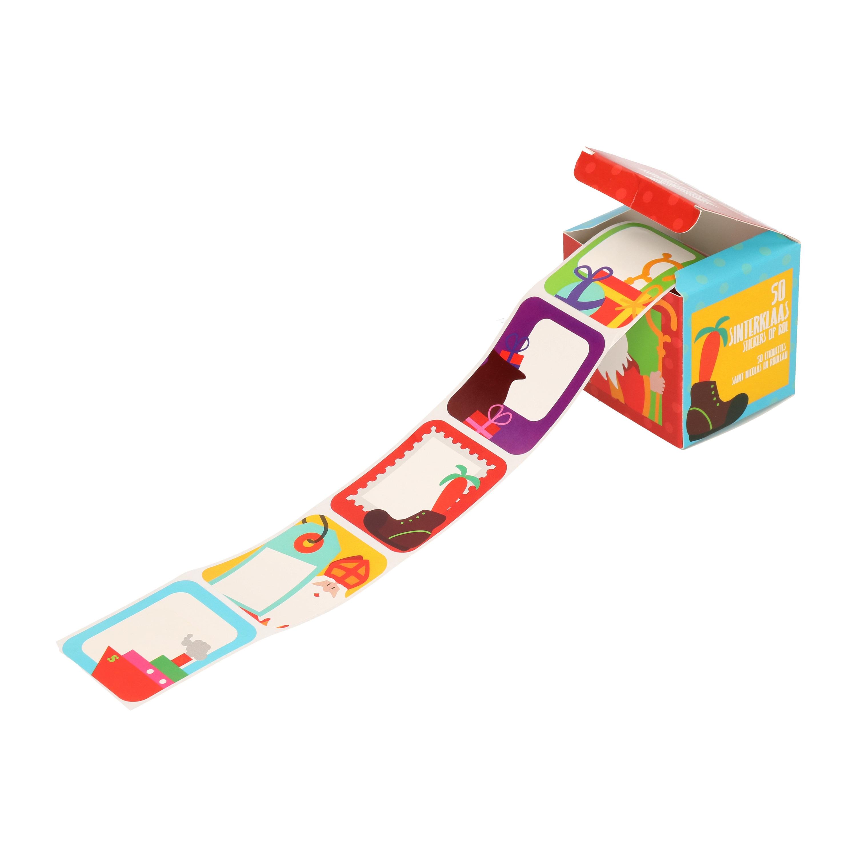 Sinterklaas kado/cadeau stickers cartoon 50x stuks