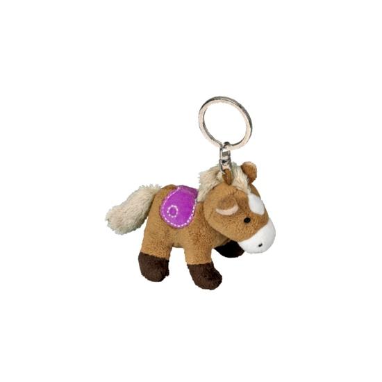 eda1626d739368 Sleutelhanger met lichtbruin pluche paard 12 cm - Spaarpotten winkel