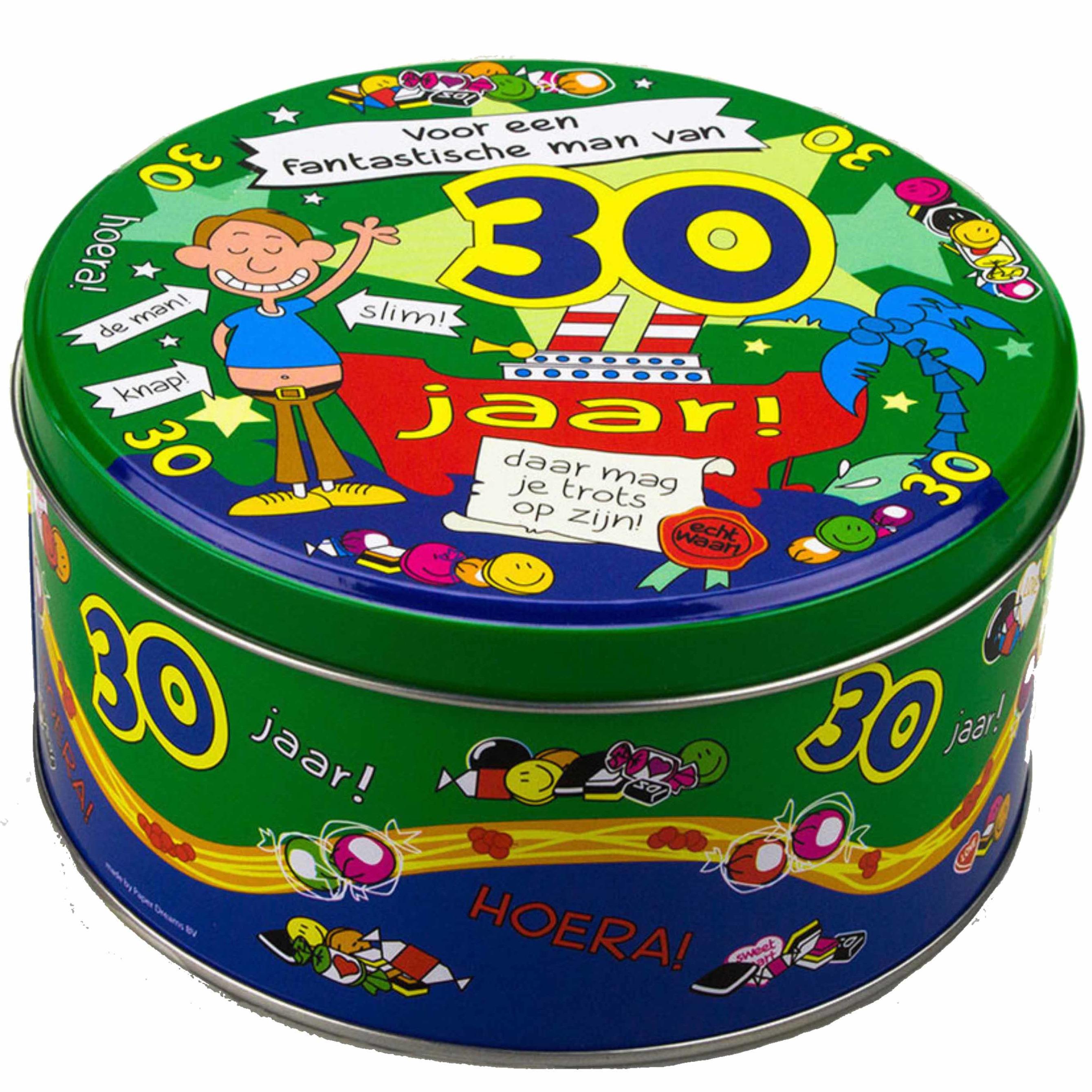 Snoeptrommel/cadeautrommel 30 jaar verjaardagscadeau/versiering voor mannen