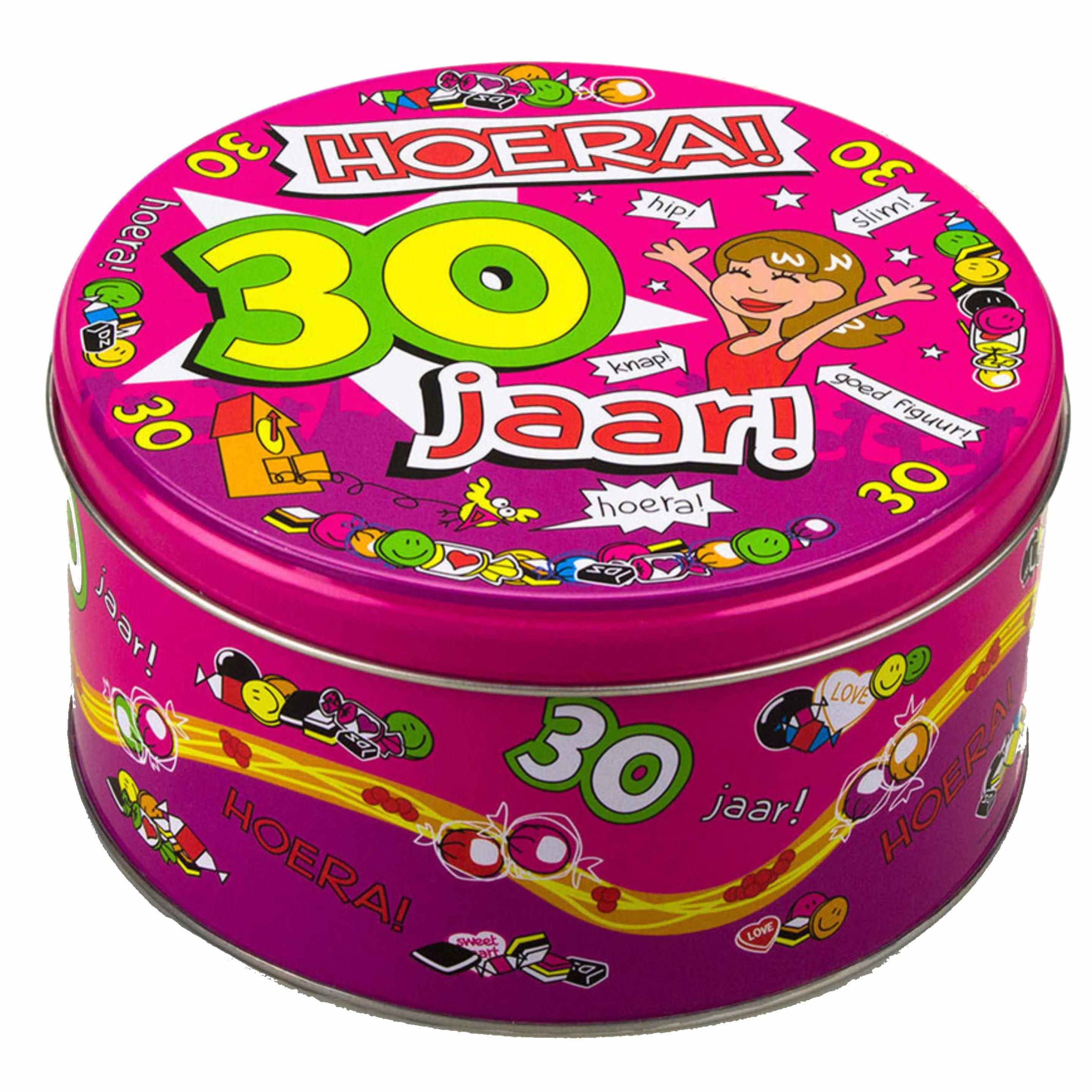 Snoeptrommel/cadeautrommel 30 jaar verjaardagscadeau/versiering voor vrouwen