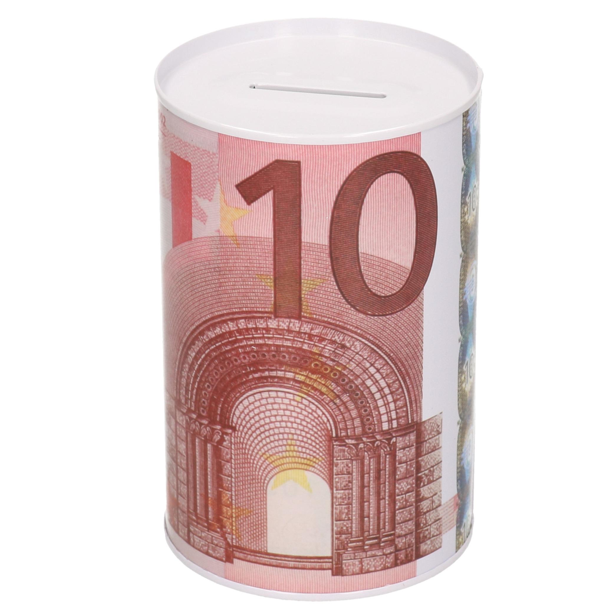 Spaarpot blik 10 euro biljet 8 x 15 cm