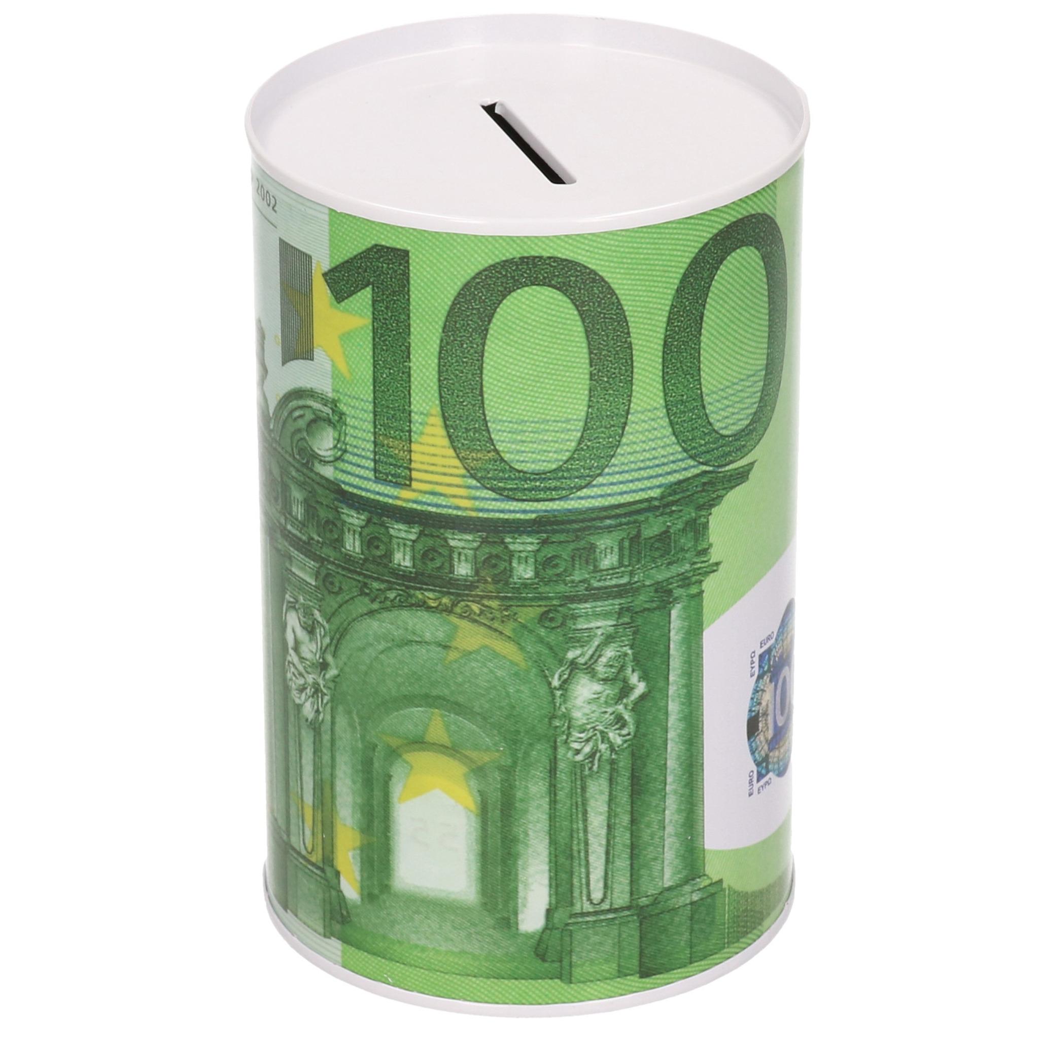 Spaarpot blik 100 euro biljet 8 x 15 cm