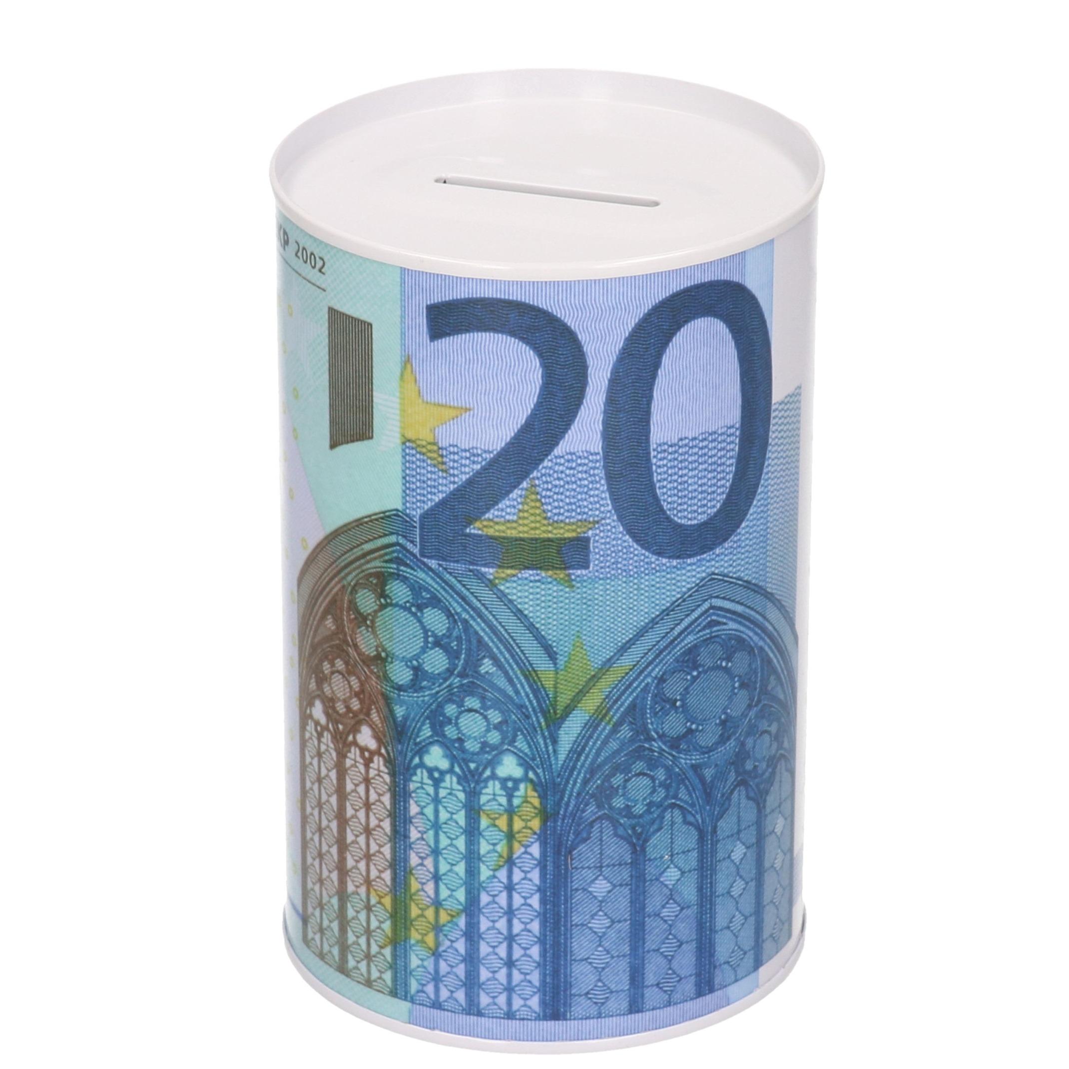 Spaarpot blik 20 euro biljet 8 x 15 cm
