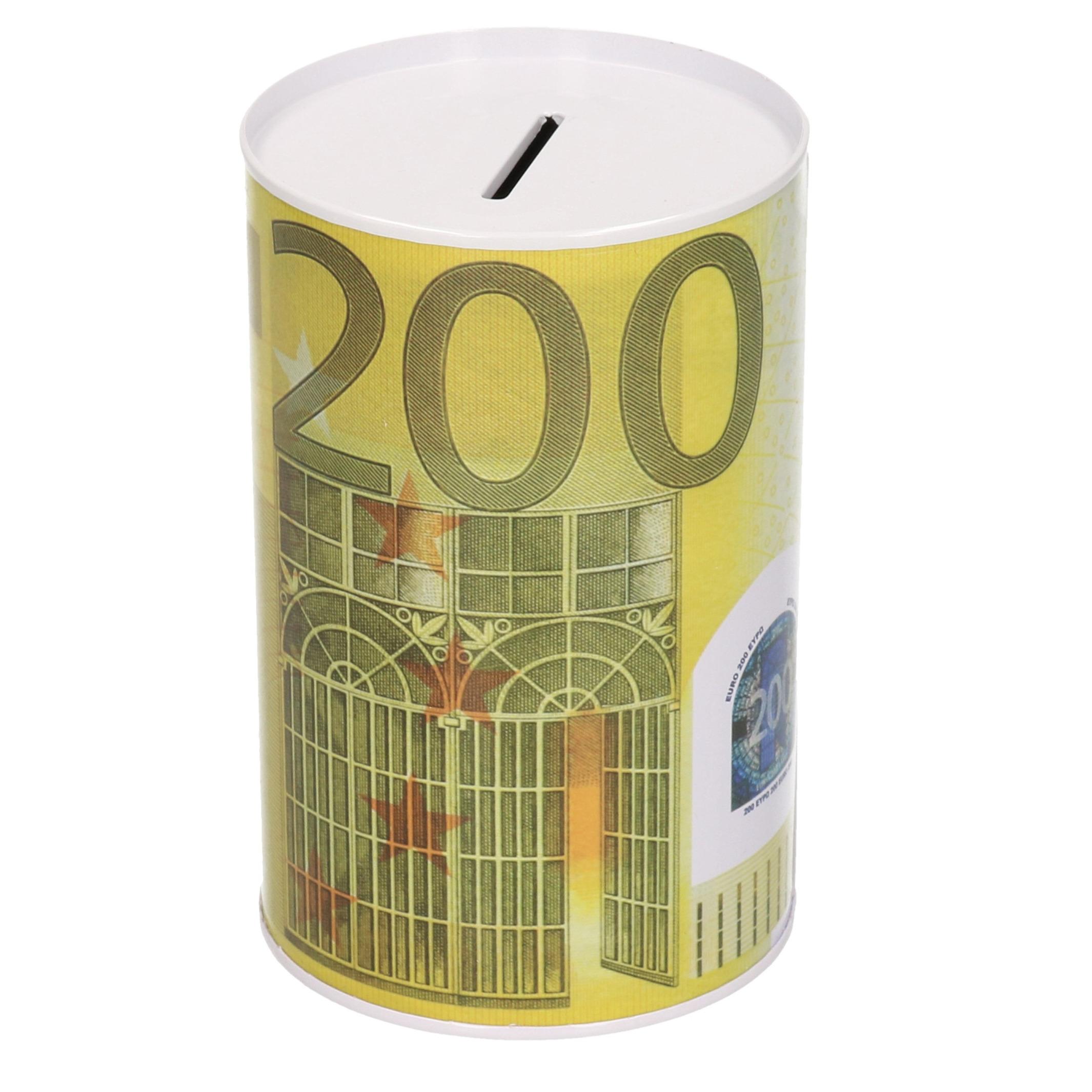 Spaarpot blik 200 euro biljet 8 x 15 cm