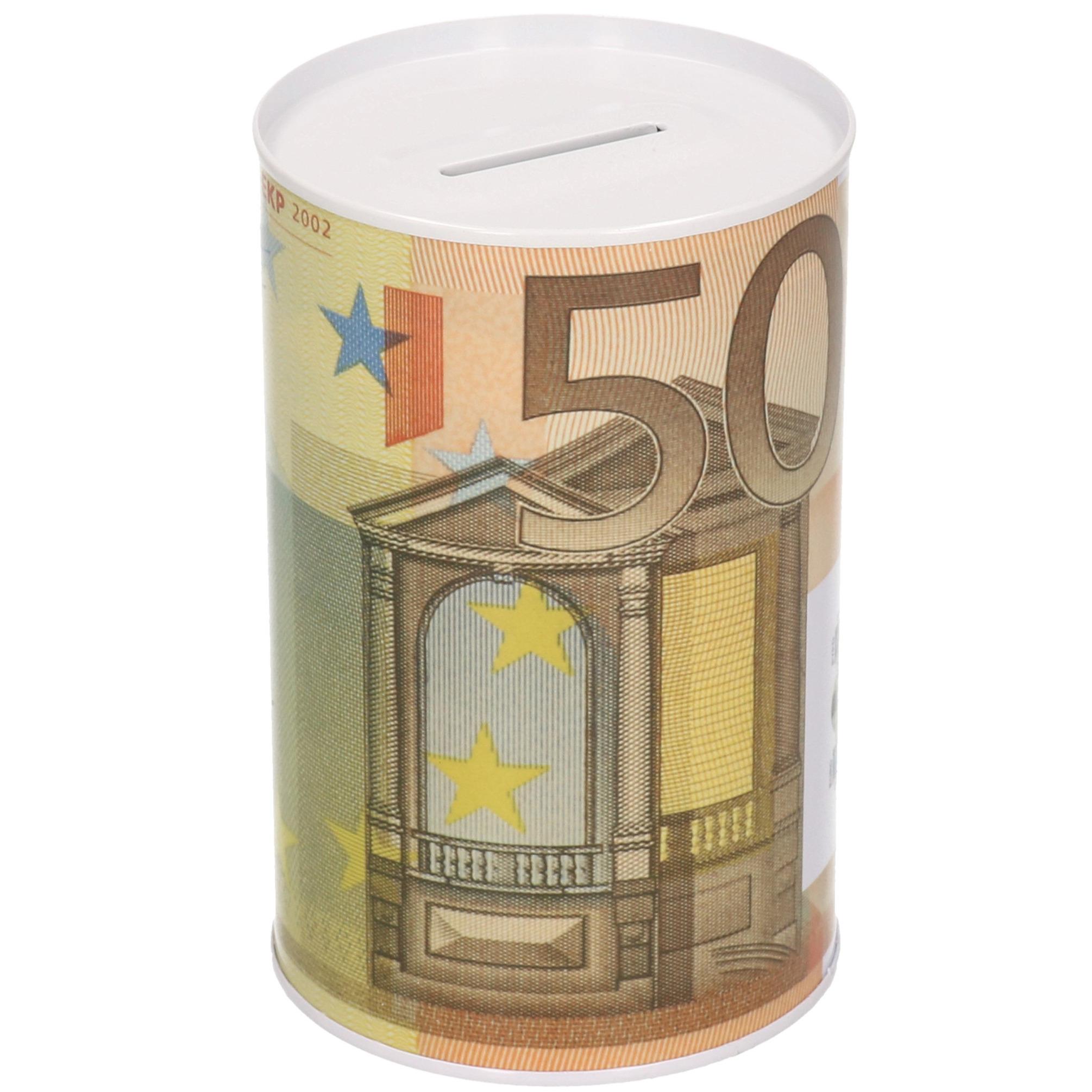 Spaarpot blik 50 euro biljet 8 x 15 cm