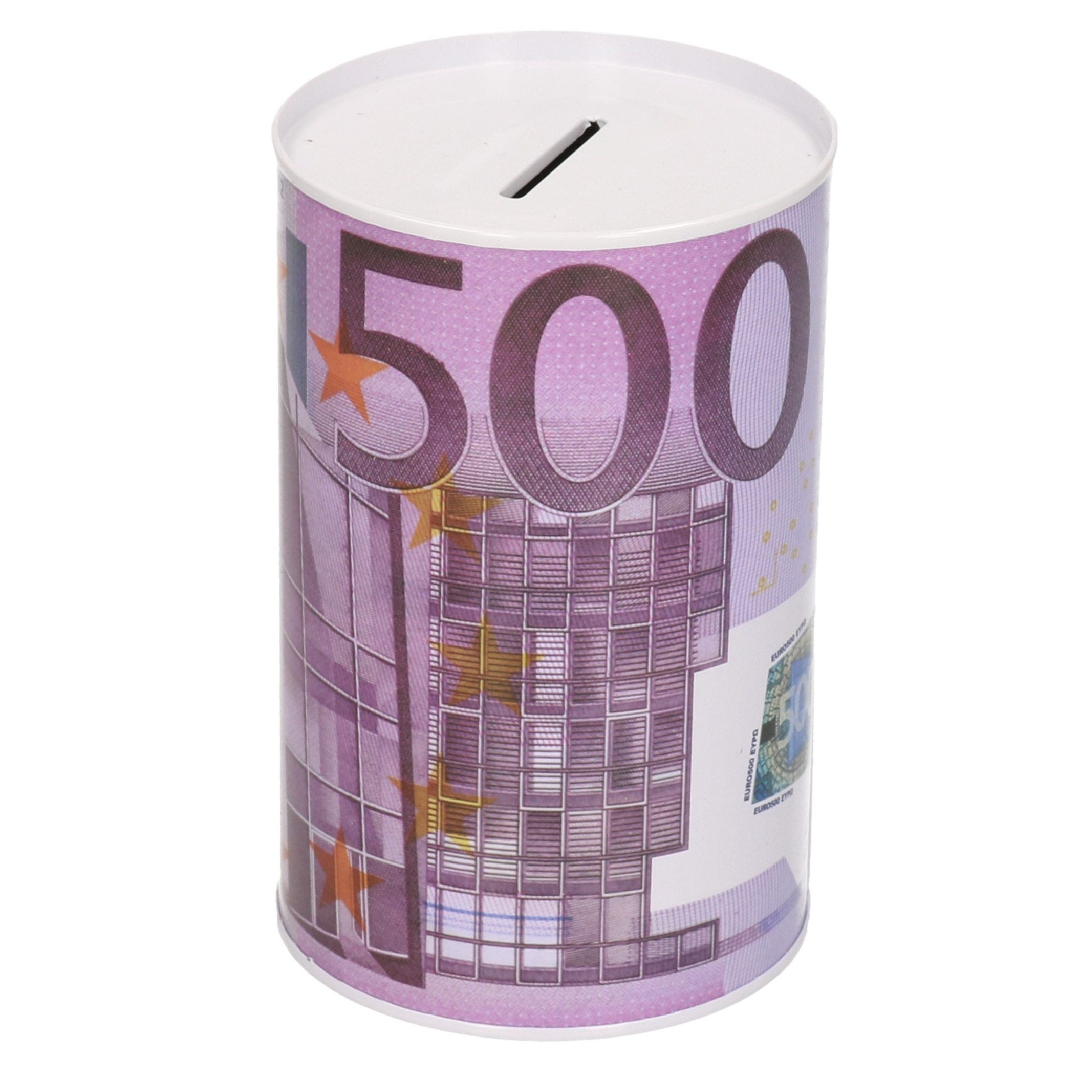 Spaarpot blik 500 euro biljet 8 x 15 cm