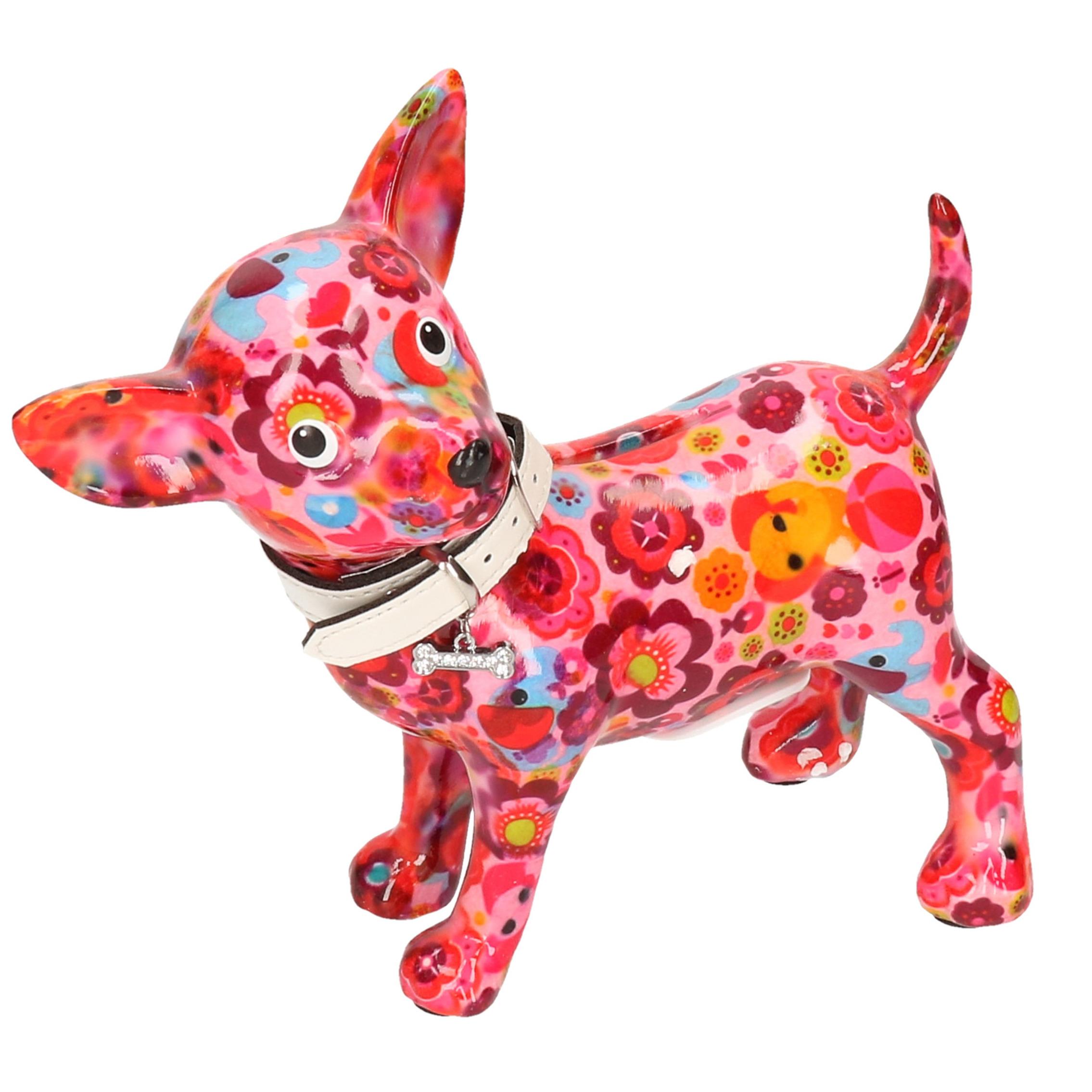 Spaarpot chihuahua hond roze met olifant en bloemen 21 cm