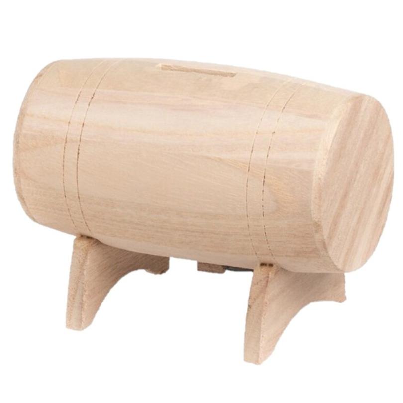 Spaarpot houten biervat/wijnvat 13 x 9 cm