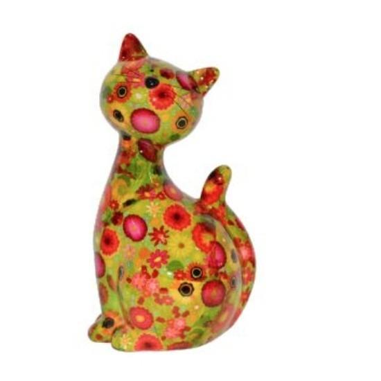Spaarpot kat/poes groen met bloemetjes 30 cm