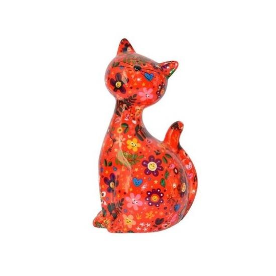 Spaarpot kat/poes rood met bloemetjes 30 cm