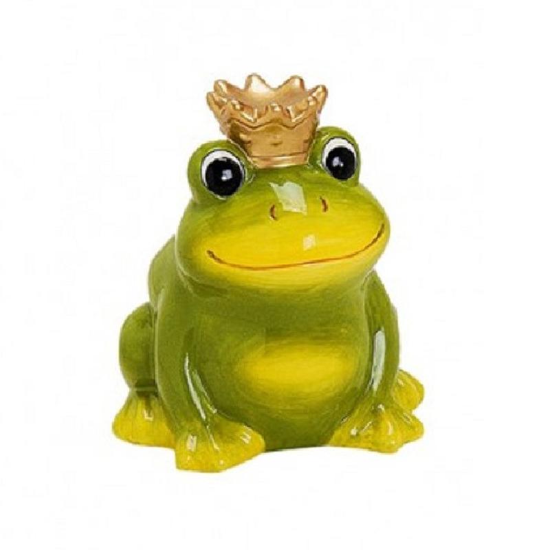 Spaarpot kikker met kroontje groen. deze kikker spaarpot heeft een formaat van ongeveer 12 cm en is gemaakt ...