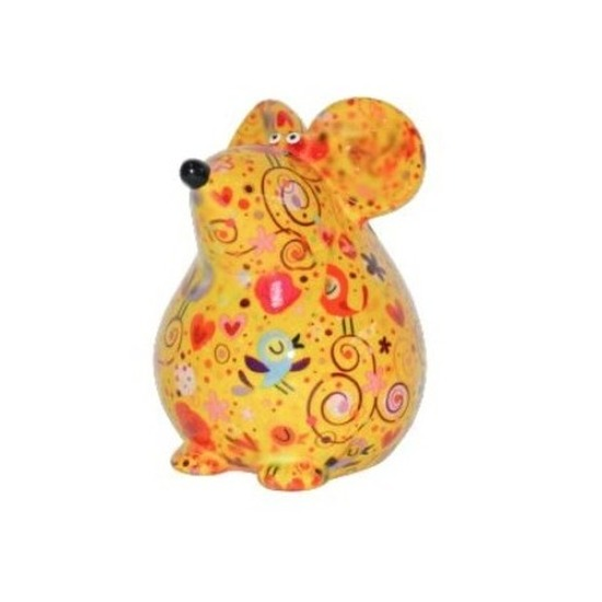 Spaarpot muis geel met vogels print 17 cm