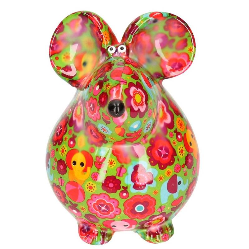 Spaarpot muis groen met olifantjes - bloemen print 17 cm