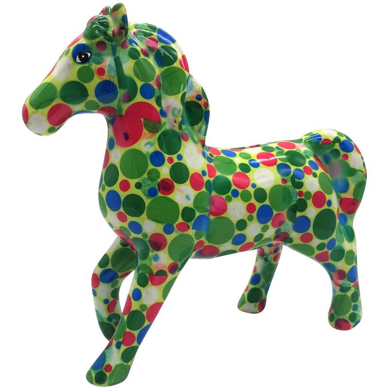 Spaarpot paard groen/gekleurde stippen print 21 cm