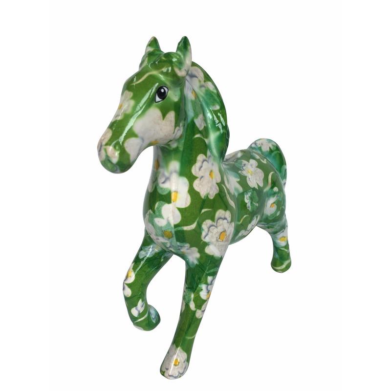 Spaarpot paard groen/wit print 21 cm