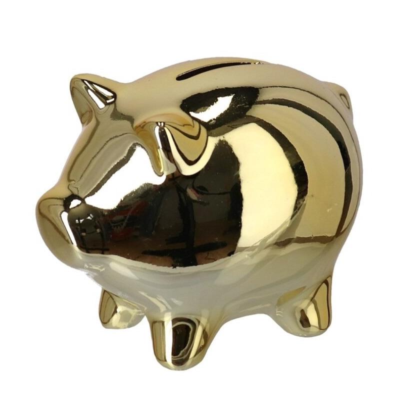 Spaarpot/spaarvarken keramiek metallic goud 12 x 8 x 10 cm