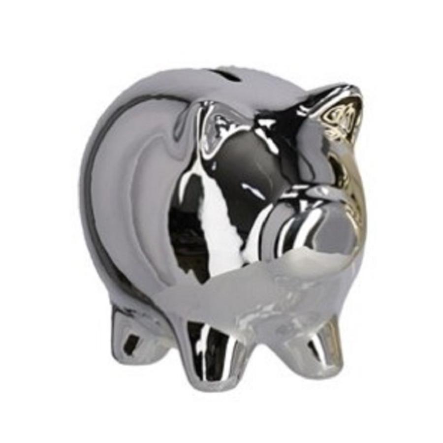 Spaarpot/spaarvarken keramiek metallic zilver 12 x 8 x 10 cm