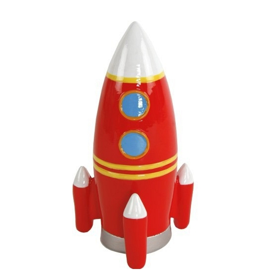 Spaarpot speelgoed raket rood