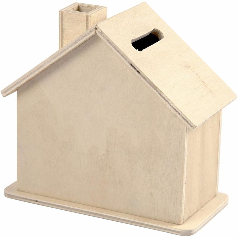 Spaarpot versieren houten huisje 10 cm